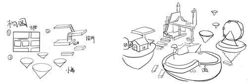 6场景设计构图(左)草图(右).png